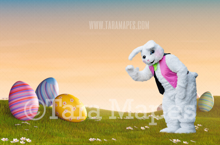 Easter Bunny Waving in Magical Egg Field- Easter Rabbit in Field JPG file - Photoshop Digital Background / Backdrop