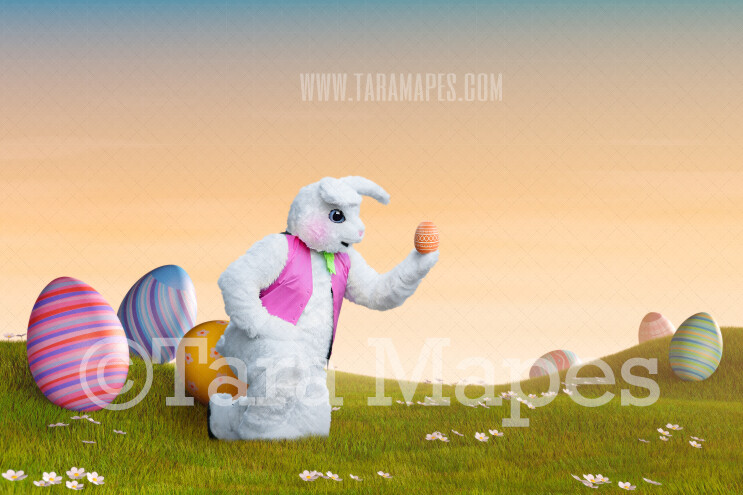 Easter Bunny in Magical Egg Field- Easter Rabbit in Field JPG file - Photoshop Digital Background / Backdrop
