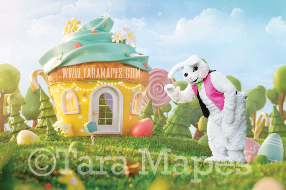 Easter Bunny Land - Easter Bunny House Candy Town- Easter Rabbit in Egg Field JPG file - Photoshop Digital Background / Backdrop