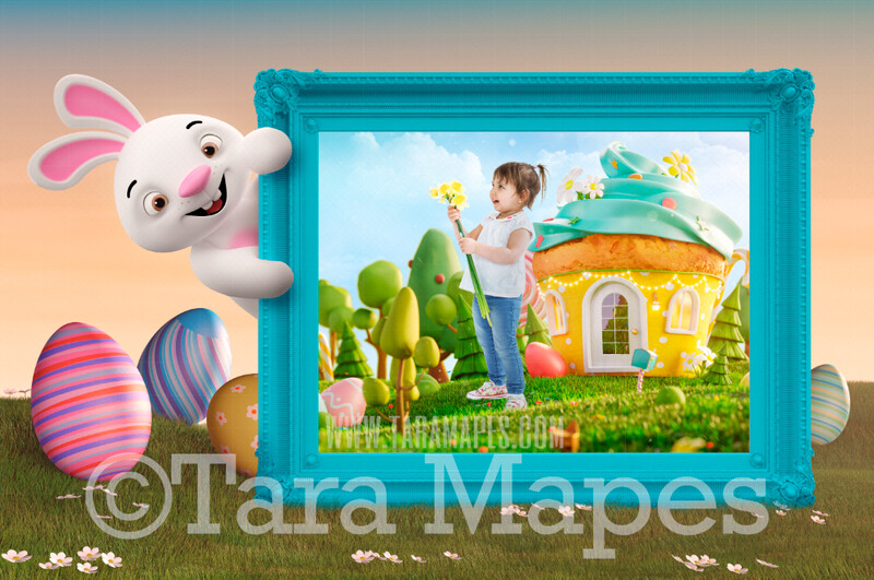 Easter Bunny With Frame - Magical Easter Land - Easter Frame - Easter Rabbit JPG file - Photoshop Digital Background / Backdrop