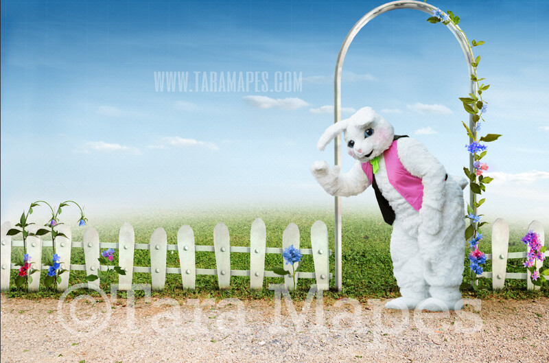 Easter Bunny Spring Scene White Picket Fence - Easter Bunny Drive - Easter Rabbit JPG file - Photoshop Digital Background / Backdrop