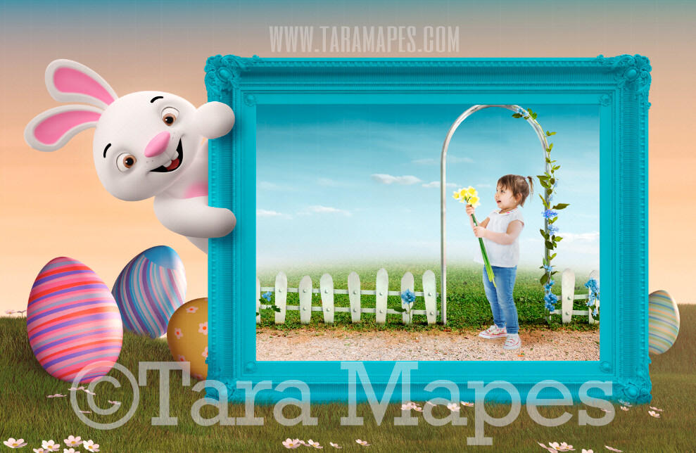 Easter Bunny With Frame -  White Picket Fence Magical Easter Land - Easter Frame - Easter Rabbit JPG file - Photoshop Digital Background / Backdrop