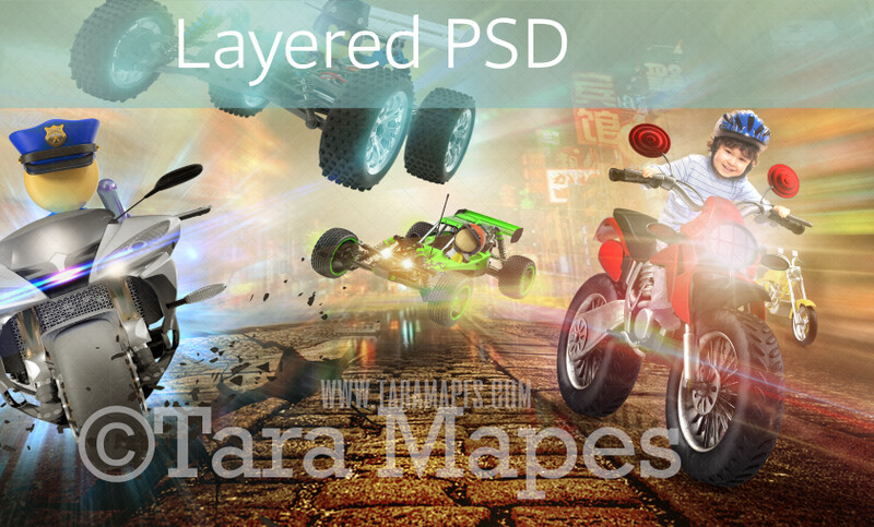 Video Game Toy Racing Motorcycle Digital Background / Backdrop LAYERED PSD