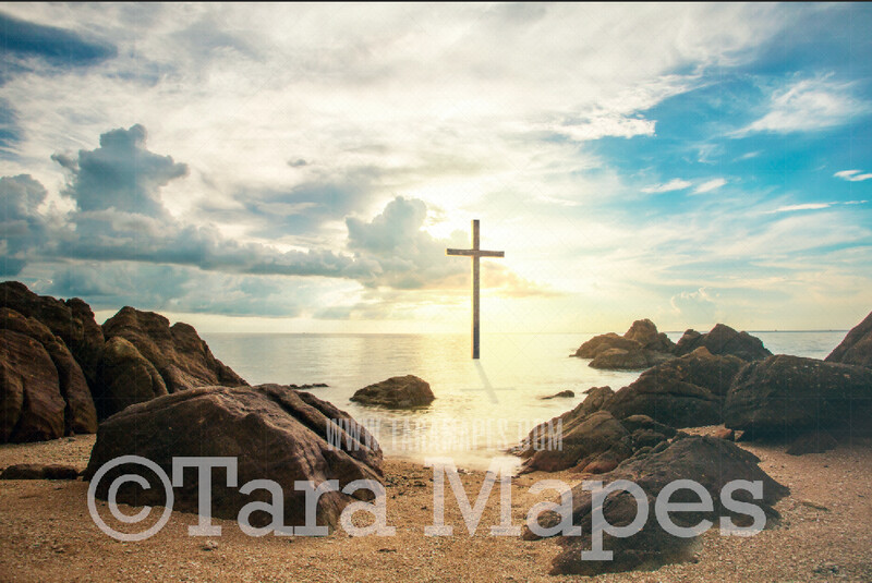 Easter Cross in Ocean - Religious Easter Digital Background - Holy Cross in Ocean by Beach - JPG file - Photoshop Digital Background / Backdrop