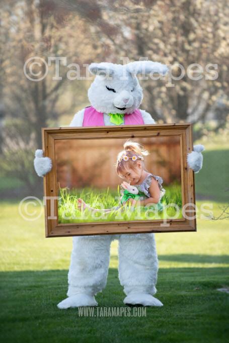 Easter Bunny Frame - Easter Bunny Holding a Frame (file1) - Fun Easter Digital - JPG file - Photoshop Digital Background / Backdrop