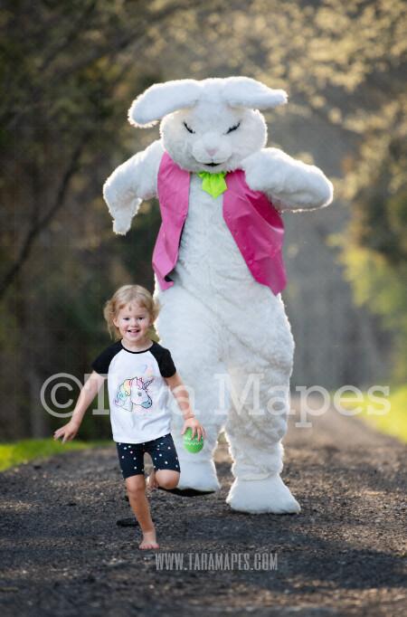 Easter Bunny Chasing - Huge Easter Bunny - Funny Easter Digital - JPG file - Photoshop Digital Background / Backdrop