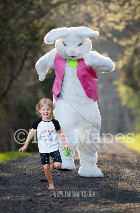 Easter Bunny Chasing - Huge Easter Bunny - Funny Easter Digital - JPG file - Photoshop Digital Background / Backdrop