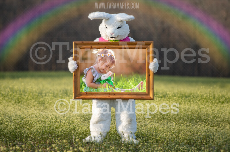 Easter Bunny Frame - Easter Bunny Holding a Frame (file2) - Fun Easter Digital - JPG file - Photoshop Digital Background / Backdrop