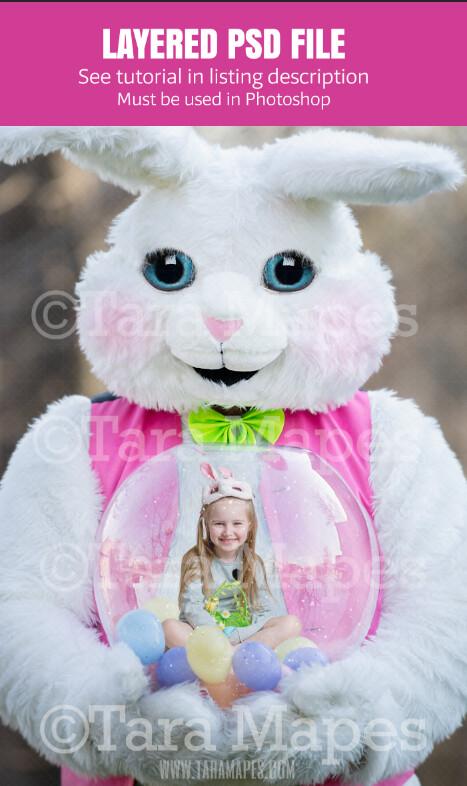 Easter Bunny Holding Snow Globe - LAYERED PSD! Snowglobe Easter Bunny - Snow Globe Easter Holiday Digital Background / Backdrop Photoshop File