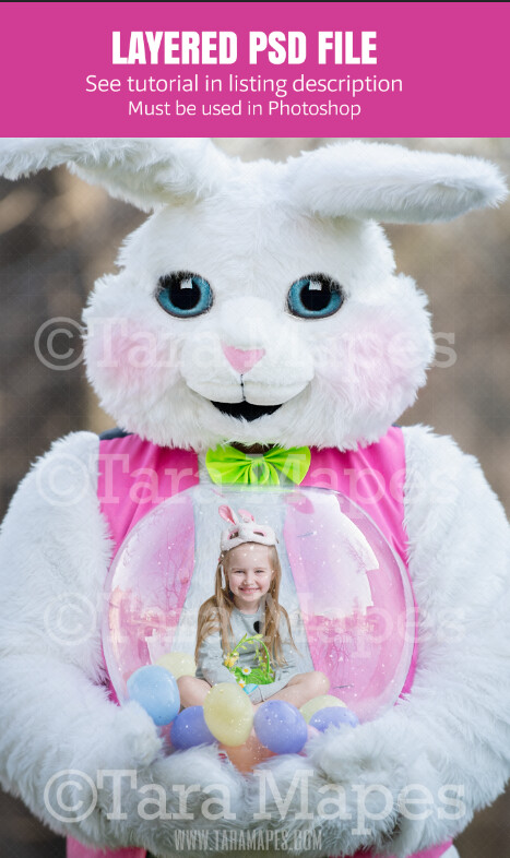 Easter Bunny Holding Snow Globe - LAYERED PSD! Snowglobe Easter Bunny - Snow Globe Easter Holiday Digital Background / Backdrop Photoshop File