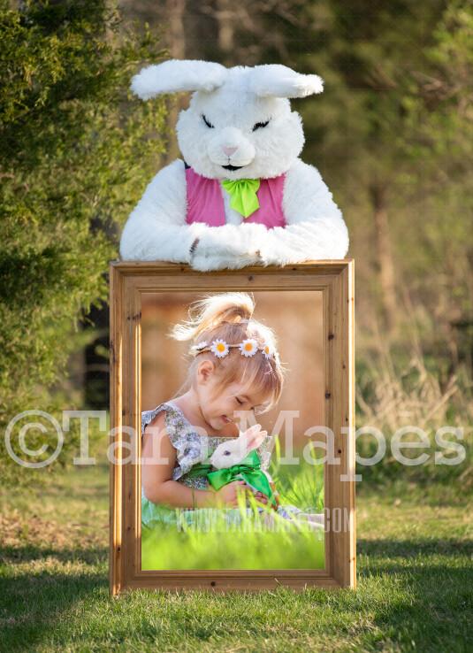 Easter Bunny Frame - Easter Bunny Holding a Frame (file4) - Fun Easter Digital - JPG file - Photoshop Digital Background / Backdrop