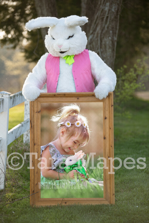 Easter Bunny Frame - Easter Bunny Holding a Frame (file5) - Fun Easter Digital - JPG file - Photoshop Digital Background / Backdrop
