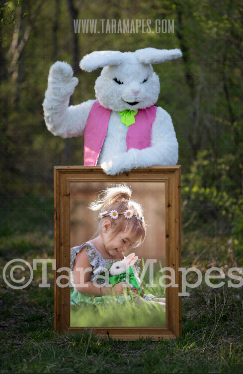 Easter Bunny Frame - Easter Bunny Holding a Frame (file9) - Fun Easter Digital - JPG file - Photoshop Digital Background / Backdrop