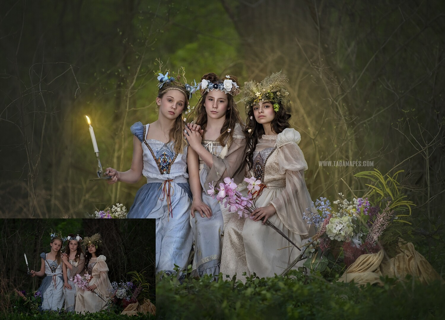 Renaissance in the Forest Painterly Photoshop Tutorial- Fine Art Facial Action Workflow Set Included- Fine Art Tutorial by Tara Mapes