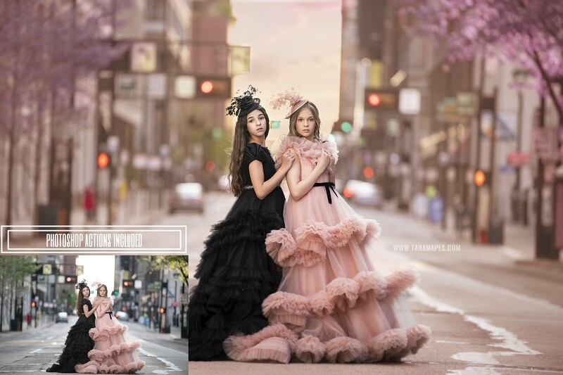 Pink and Black in the City Painterly Photoshop Tutorial- Skin & Portrait Retouch Action Workflow Set Included- Fine Art Tutorial by Tara Mapes