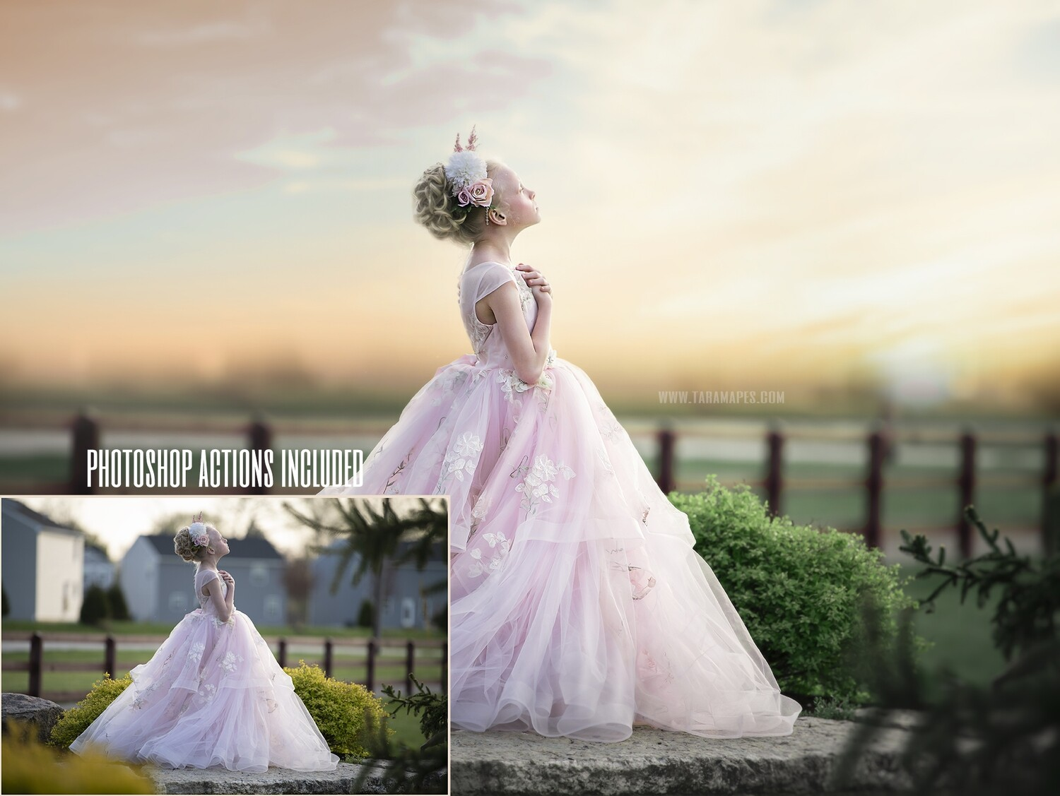 Into the Sun Painterly Photoshop Tutorial- Skin & Portrait Retouch Action Workflow Set Included- Fine Art Tutorial by Tara Mapes