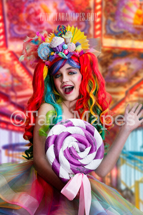Carnival Ride Blurred Background for Portraits in City - Colorful Lights - Circus Carnival Festival Digital Background - JPG file - Photoshop Digital Background / Backdrop