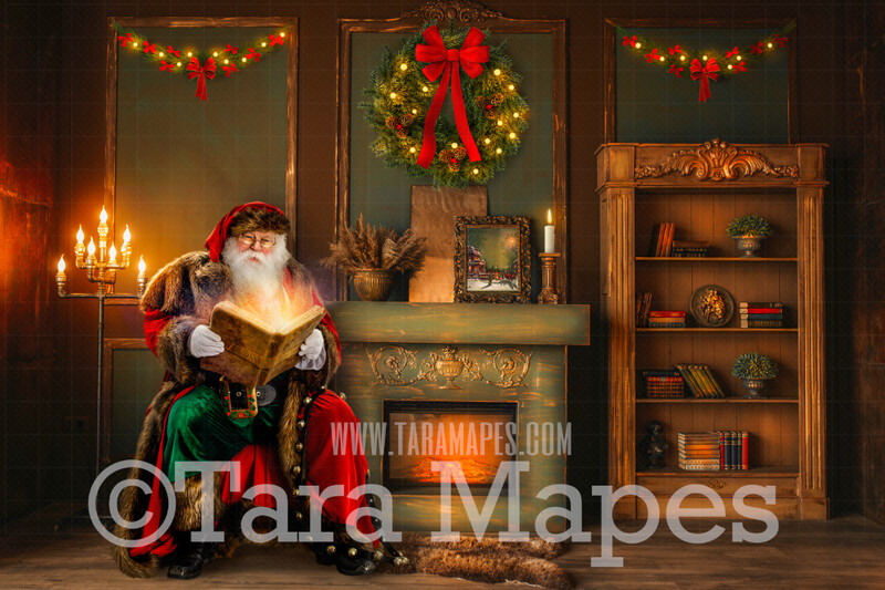 Victorian Santa Reading Magic Book by Fireplace  - Vintage Santa Scene - Painterly Christmas Background - Holiday Digital Background Backdrop