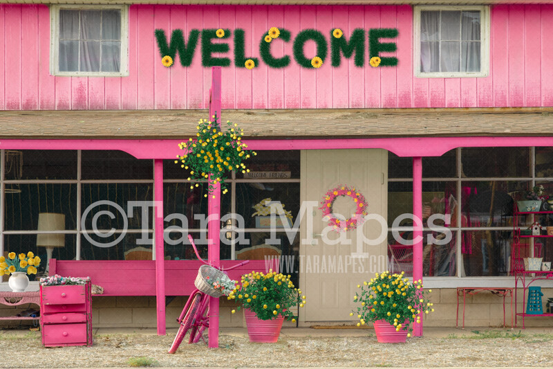 Pink and Yellow Storefront- Digital Background Backdrop - Pink Shop with Daisy Flowers and Tulips - Spring Shoppe - JPG file Digital Background
