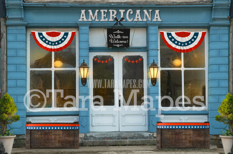 Americana Storefront- Patriotic Shoppe - 4th of July Shop - Digital Background Backdrop -  JPG file Digital Background