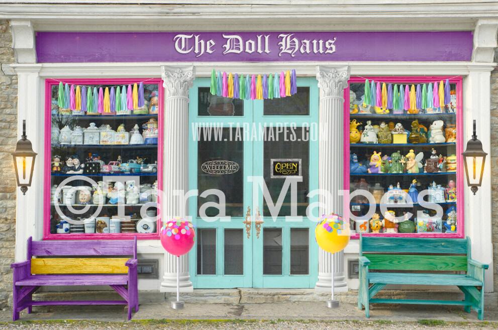 Candy Shop Storefront- Doll Haus Shoppe - Colorful store front - Digital Background Backdrop -  JPG file Digital Background