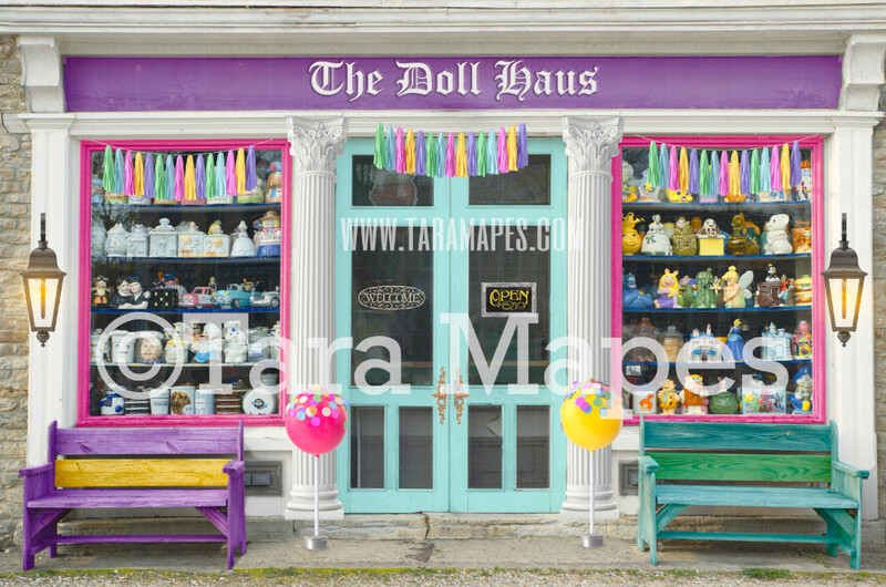 Candy Shop Storefront- Doll Haus Shoppe - Colorful store front - Digital Background Backdrop -  JPG file Digital Background