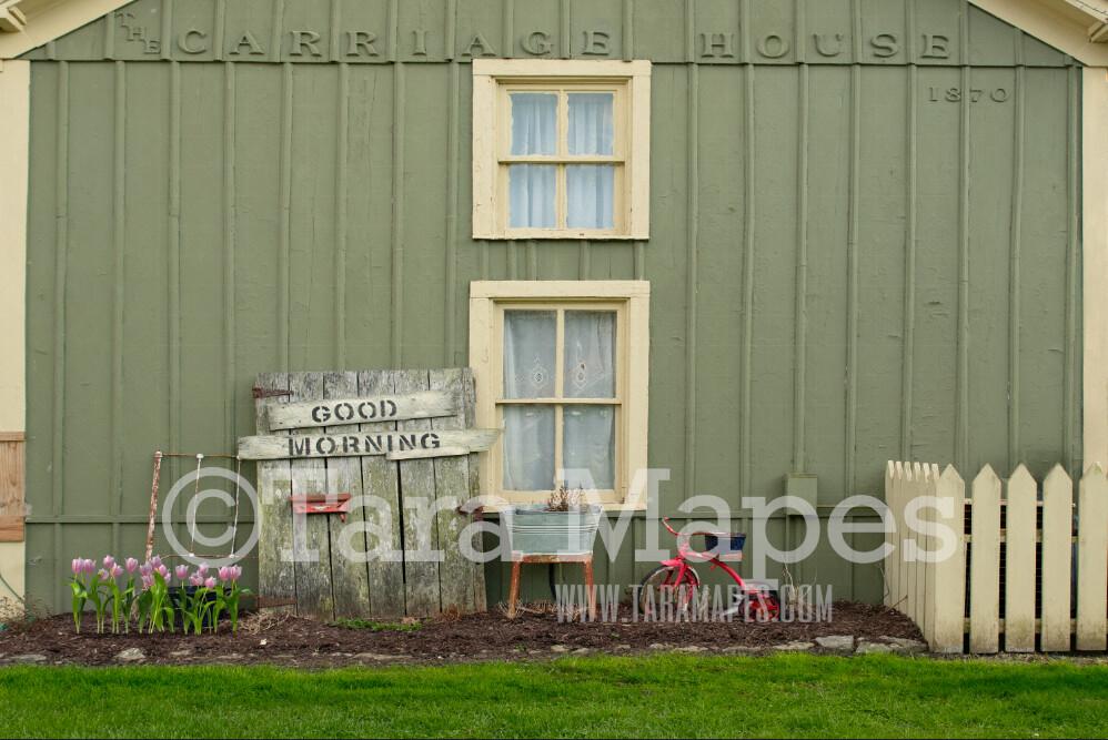 Carriage House Shop- Good Morning Shoppe - Primitive Storefront- Digital Background Backdrop -  JPG file Digital Background