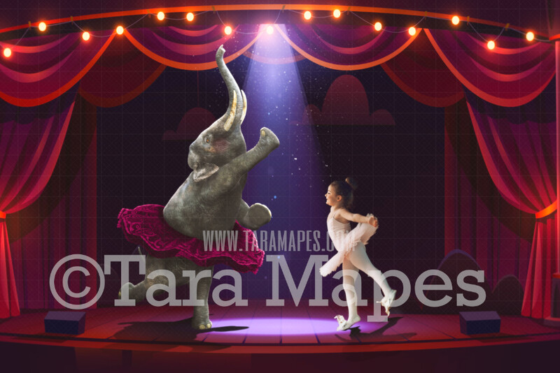 Elephant Ballerina - Baby Elephant in Tutu on Colorful Stage with Lights JPG File - Digital Background / Backdrop