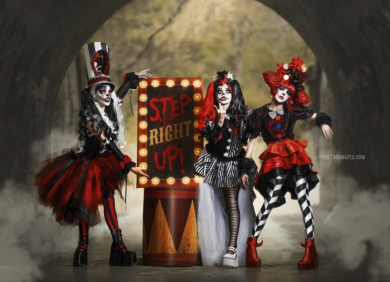 Dark Carnival Circus Digital Background - Creepy Carnival Sign in Foggy Tunnel - JPG file - Photoshop Digital Background / Backdrop