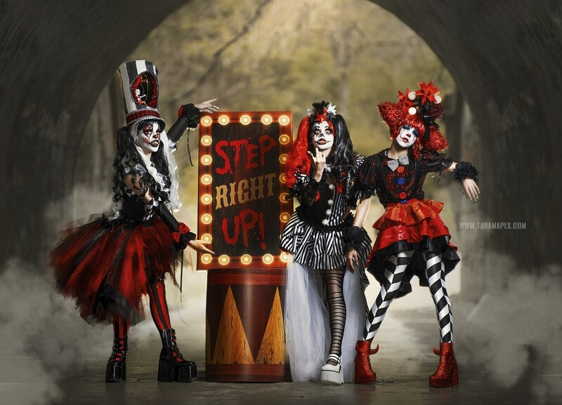Dark Carnival Circus Digital Background - Creepy Carnival Sign in Foggy Tunnel - JPG file - Photoshop Digital Background / Backdrop
