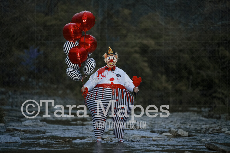TWO PACK Creepy Circus Clown in Creek Digital Background - Scary Carnival Clown  in River - JPG file - Photoshop Digital Background / Backdrop