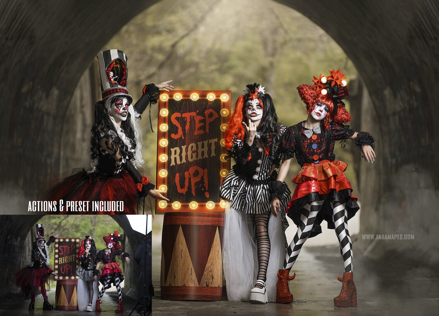 Dark Carnival Cinematic Photoshop Tutorial- Skin & Portrait Retouch Action Workflow Set Included - ADOBE CAMERA RAW PRESET INCLUDED- Fine Art Tutorial by Tara Mapes