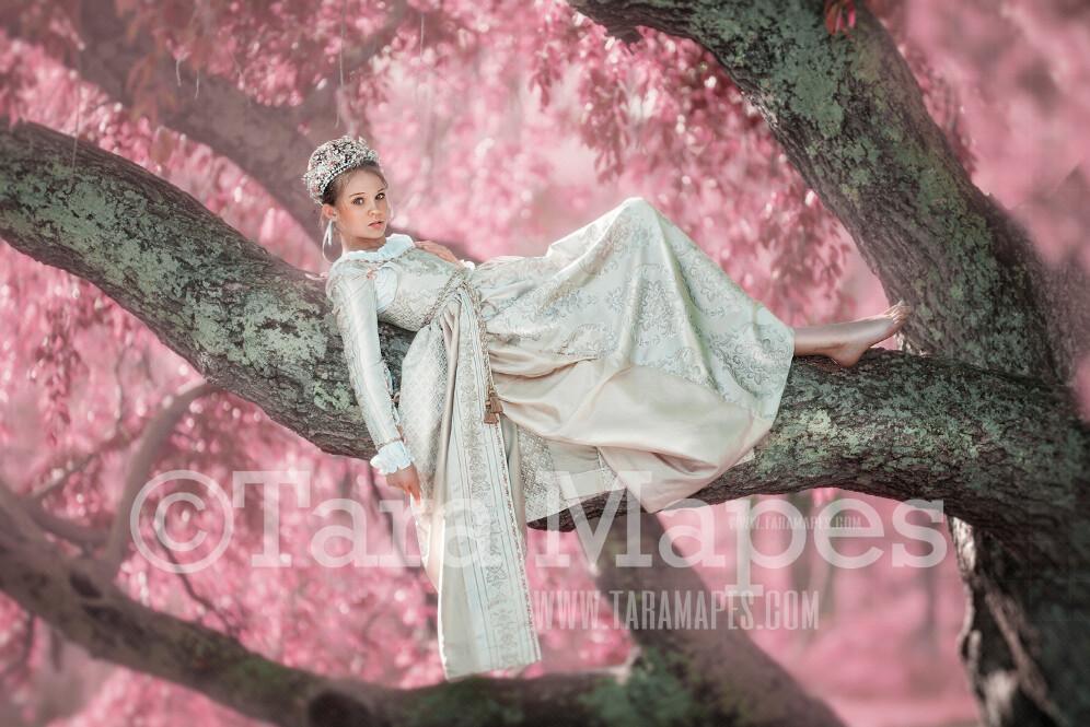 Pink Sitting Tree- Whimsical Tree Branch- JPG file - Photoshop Digital Background / Backdrop