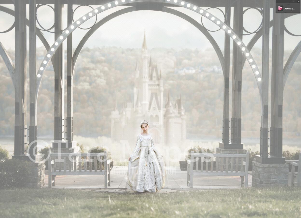 Big Castle Overlook- Castle in Fog - JPG file - Photoshop Digital Background / Backdrop