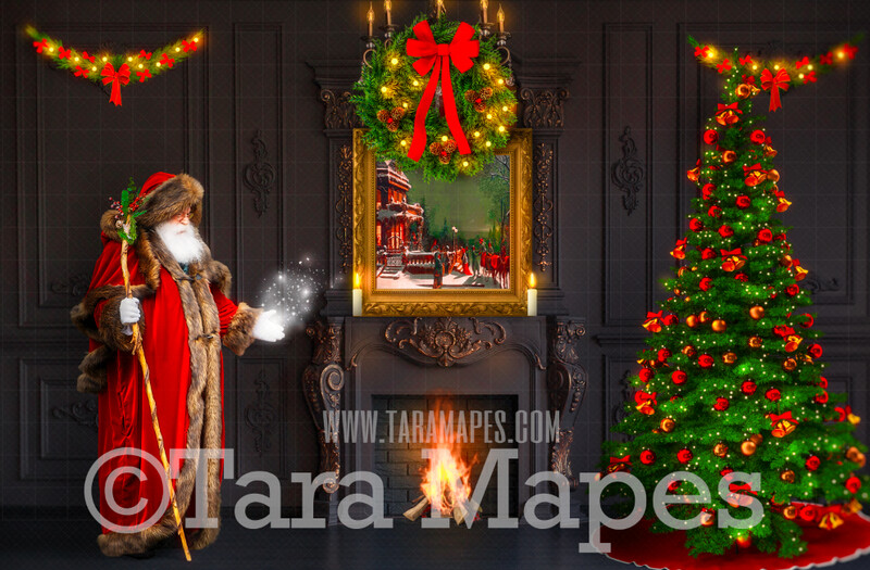 Victorian Santa with Magic by Fireplace  - Vintage Santa Scene - Painterly Christmas Background - Holiday Digital Background Backdrop