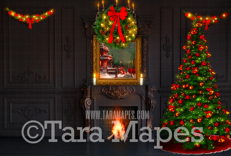 Vintage Christmas Room with Fireplace  - Vintage Holiday Scene - Painterly Christmas Background - Holiday Digital Background Backdrop