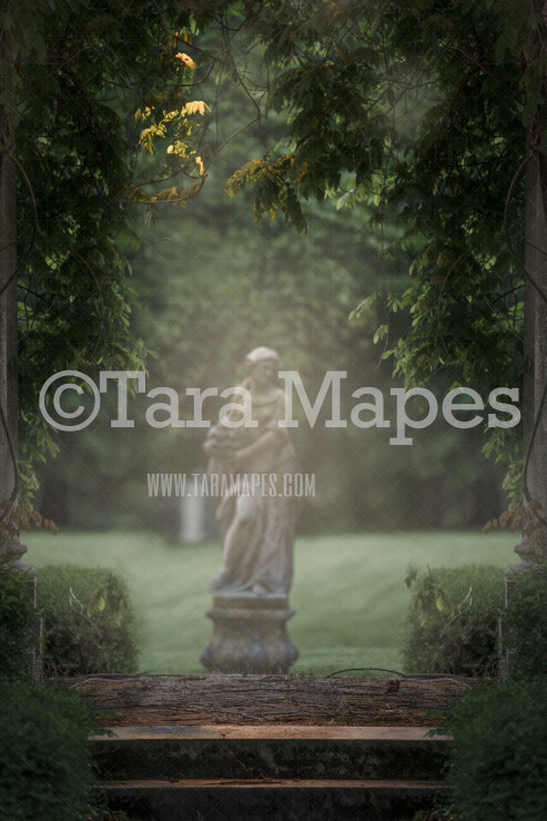 Garden Arch- Castle Landing - Statue Garden Soft Creamy Background - JPG file - Photoshop Digital Background /  Backdrop