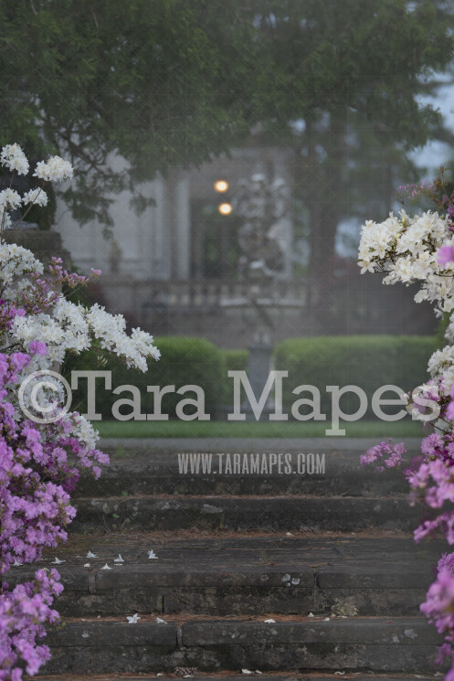 Garden Fairytale stairs- Castle Stairs With Flowers - Soft Creamy Background - JPG file - Photoshop Digital Background /  Backdrop