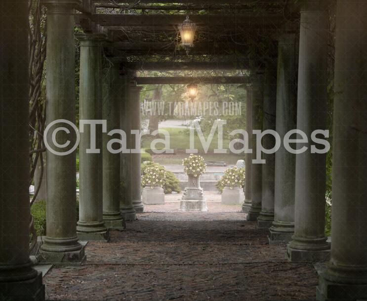 Garden walkway- Pergola walkway - Soft Creamy Background - JPG file - Photoshop Digital Background /  Backdrop