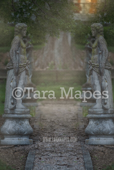 Garden Statues - Statue Garden- Castle Landing - Soft Creamy Background - JPG file - Photoshop Digital Background /  Backdrop