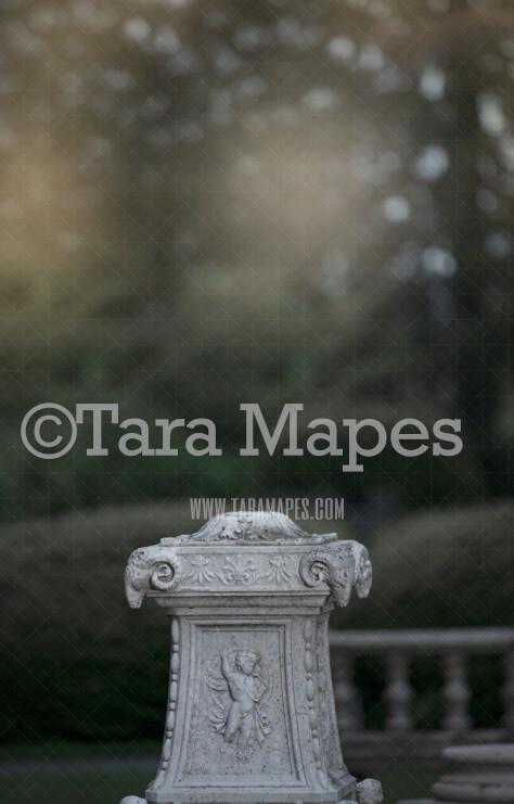 Statue Pillar - Garden Statue- Soft Creamy Background - JPG file - Photoshop Digital Background /  Backdrop