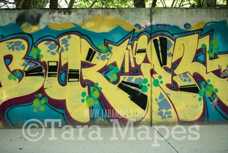 Graffiti Digital Background - Yellow Graffiti Wall- JPG file - Photoshop Digital Background / Backdrop