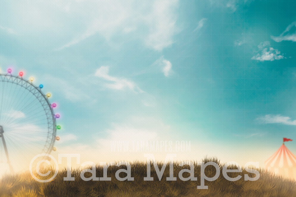 Circus Hill- Carnival Tent and Ferris Wheel - Circus at Sunset - JPG file - Photoshop Digital Background / Backdrop