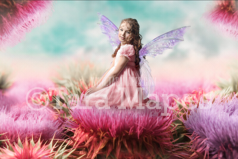 Giant Colorful Fairy Flowers - Flowers for a Fairy Scene- Creamy Whimsical Fairy Setting - Photoshop Digital Background / Backdrop