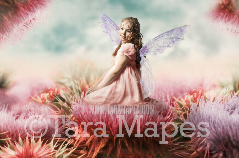 Giant Fairy Flowers - Flowers for a Fairy Scene- Creamy Whimsical Fairy Setting - Photoshop Digital Background / Backdrop