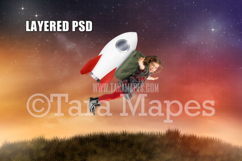 Rocket Pack - Rocket Backpack on Hill - Astronaut -Space - Outer Space- Layered PSD Digital Background Backdrop