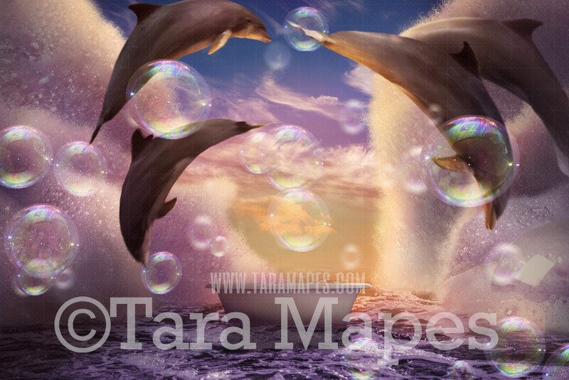 Bath tub in Ocean with Dolphins - Bubble Overlay included - Bubbles in Ocean Bathtub -JPG  Digital Background Backdrop
