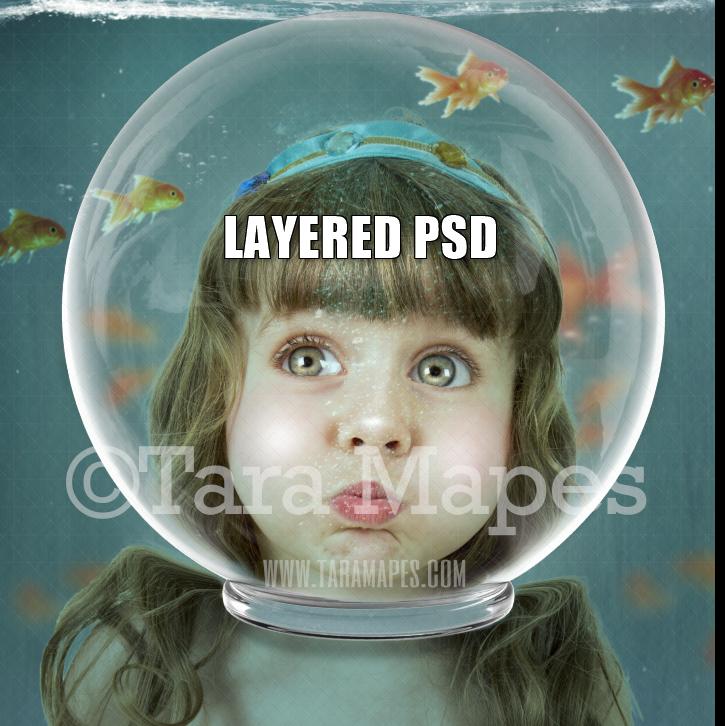 Fishbowl Face Under Water Digital Background Layered PSD - Fishbowl - Underwater - Funny Vintage Digital Background Backdrop