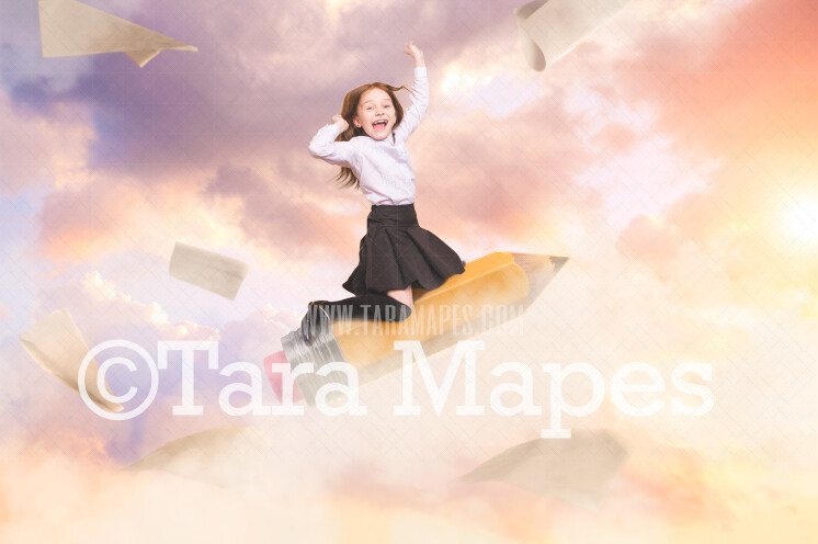 Pencil Rocket - Back to School Pencil Flying in Sky - Whimsical Magical JPG Digital Background Backdrop