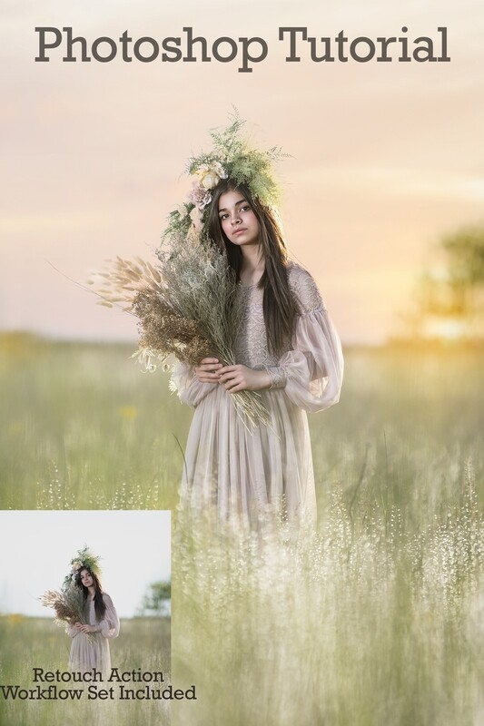 Soft Sunset Painterly Photoshop Tutorial- Skin & Portrait Retouch Action Workflow Set Included- Fine Art Tutorial by Tara Mapes